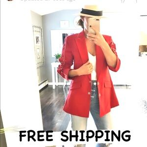 Jonathan Simkhai red white piping button blazer 2